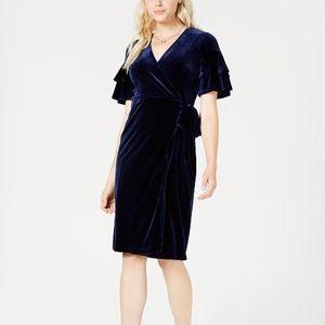 MAISON JULES Velvet Wrap Midi Dress